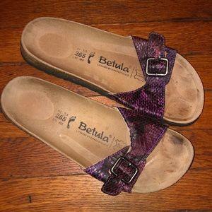 Birkenstock Betula sandals purple pink snakeskin